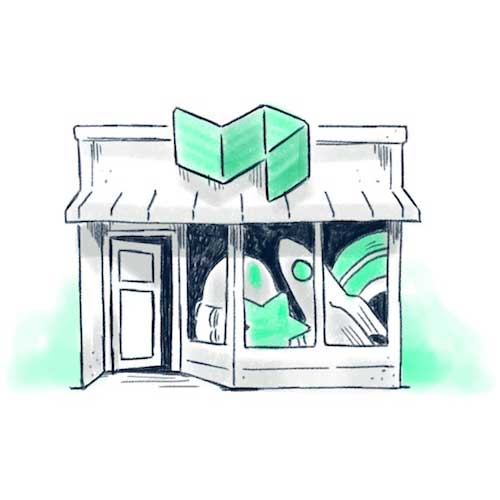 Illustration of a shop full of items
