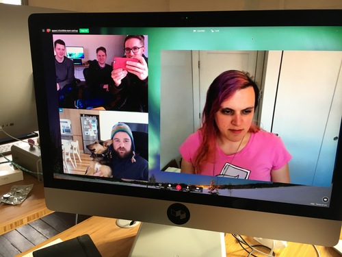Some of the team on a Zoom video call.