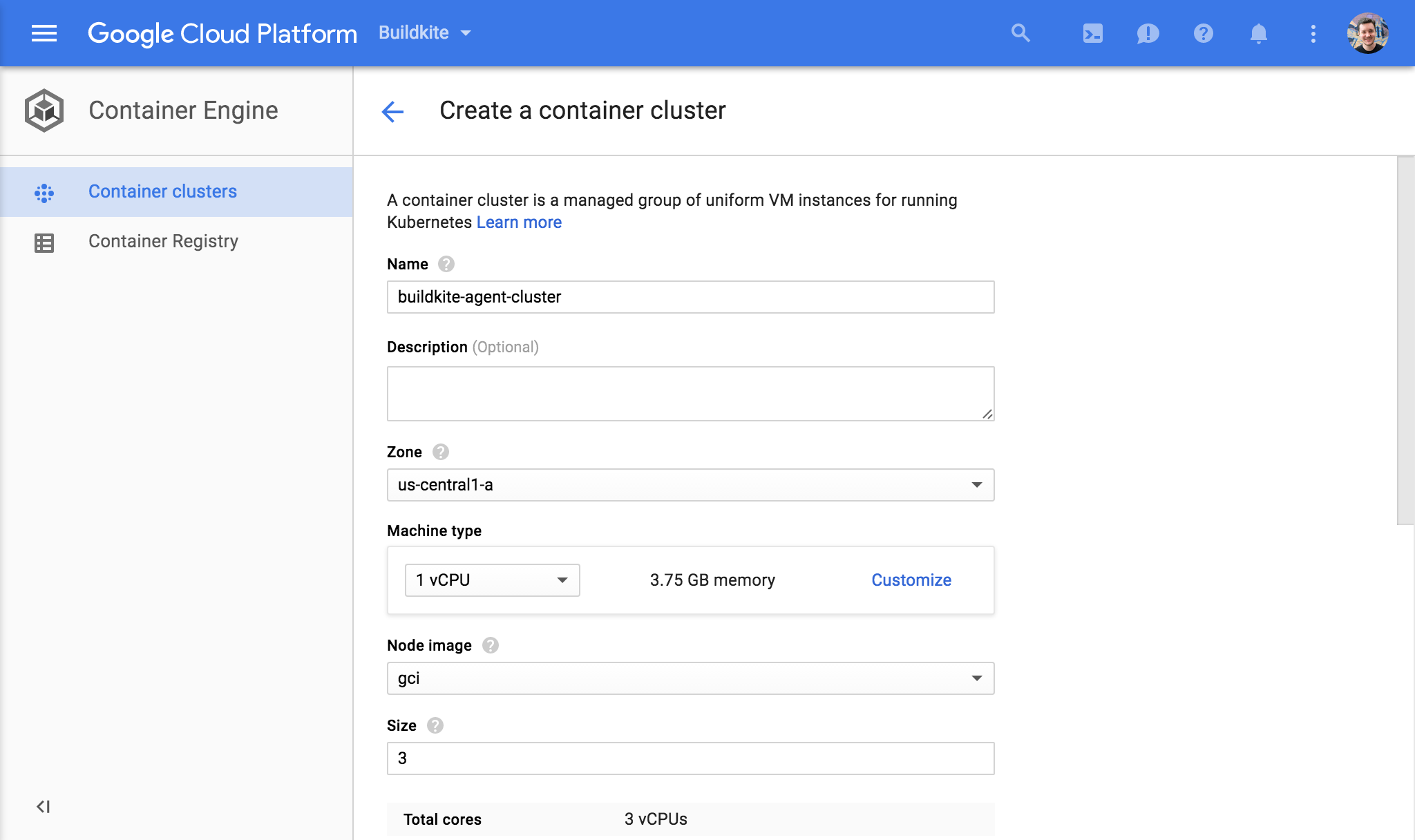 Screenshot of creating a Google Container Engine cluster via the Google Cloud Console