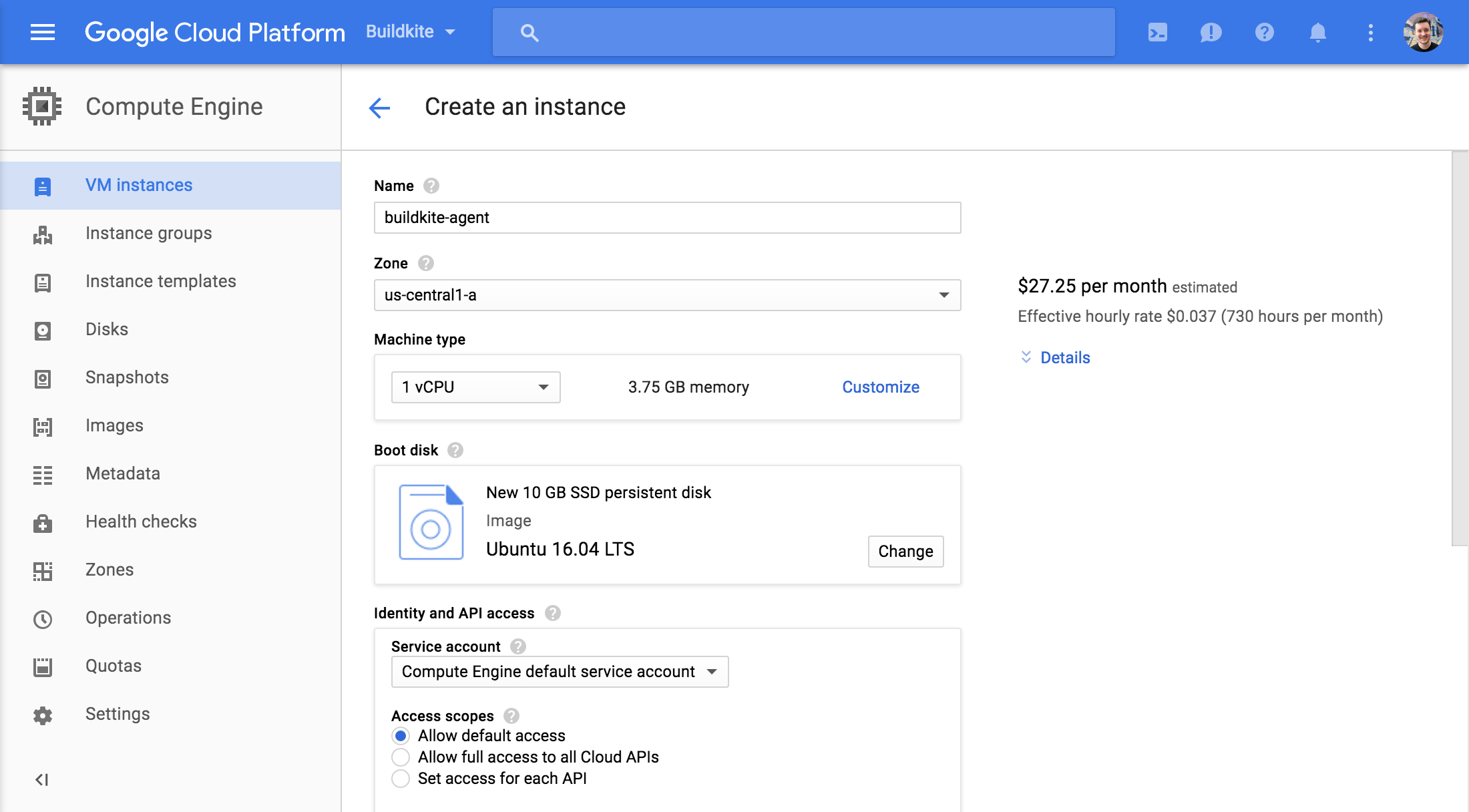 Screenshot of creating a Google Compute Engine instance running Ubuntu 16.04 LTS via the Google Cloud Console