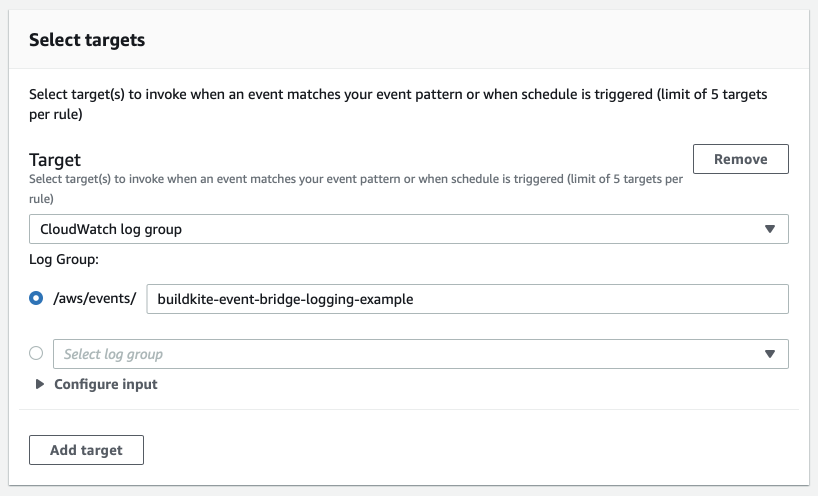 Screenshot of configuring an EventBridge Rule to send to CloudWatch Logs
